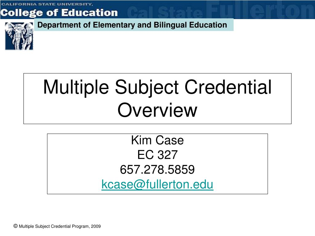 multiple subject credential overview l.