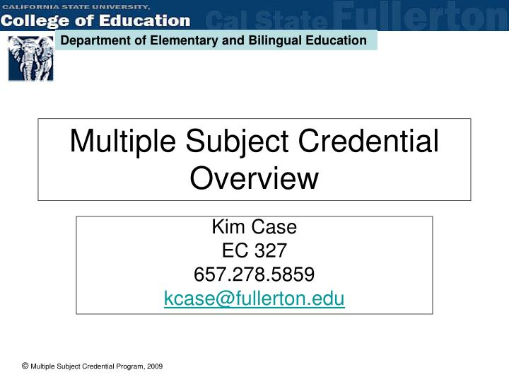 multiple subject credential overview n.