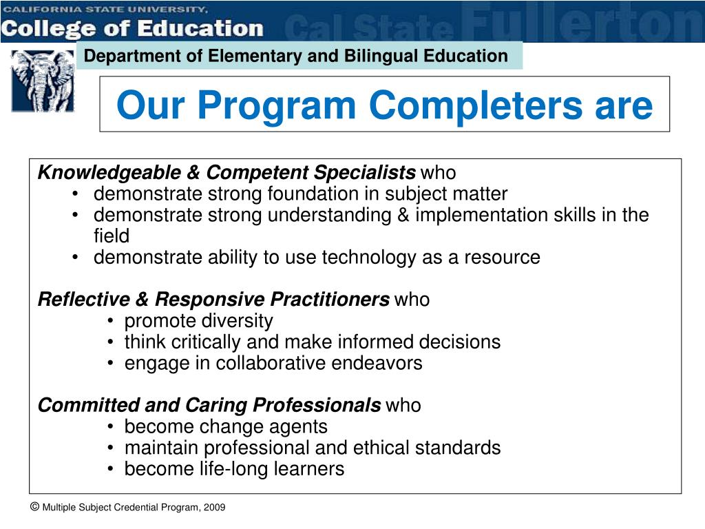 Our Program Completers are
