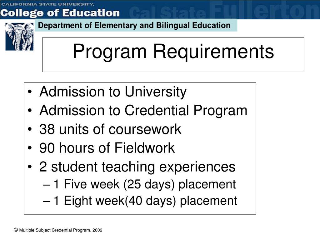 Admission to University