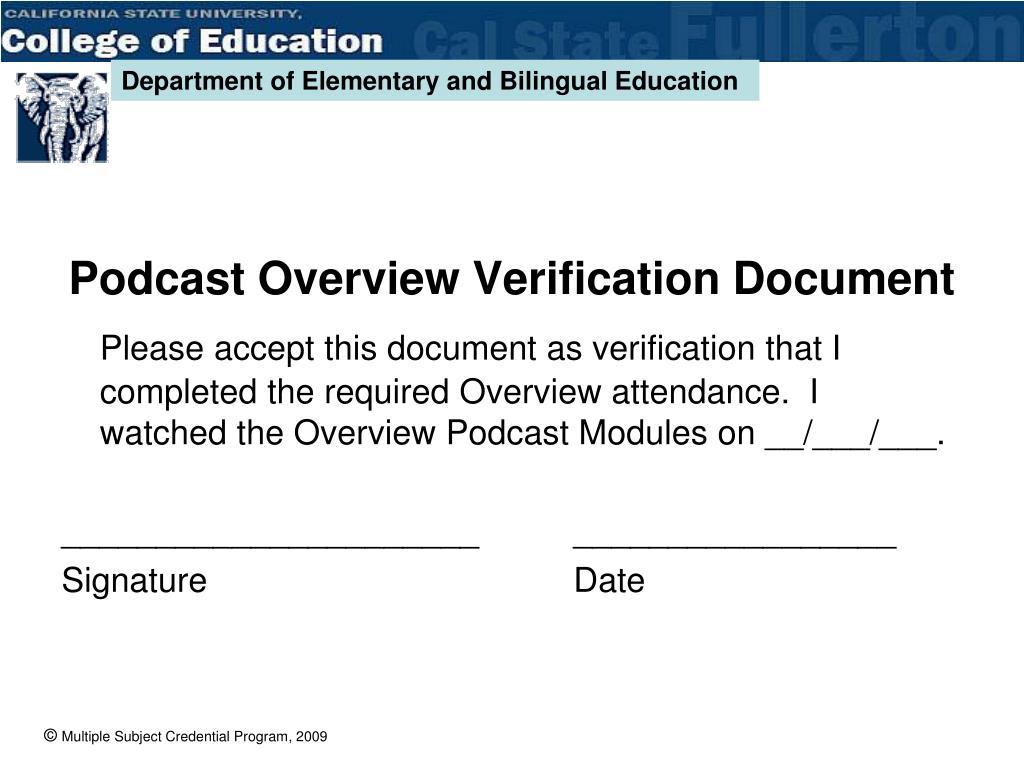 Podcast Overview Verification Document