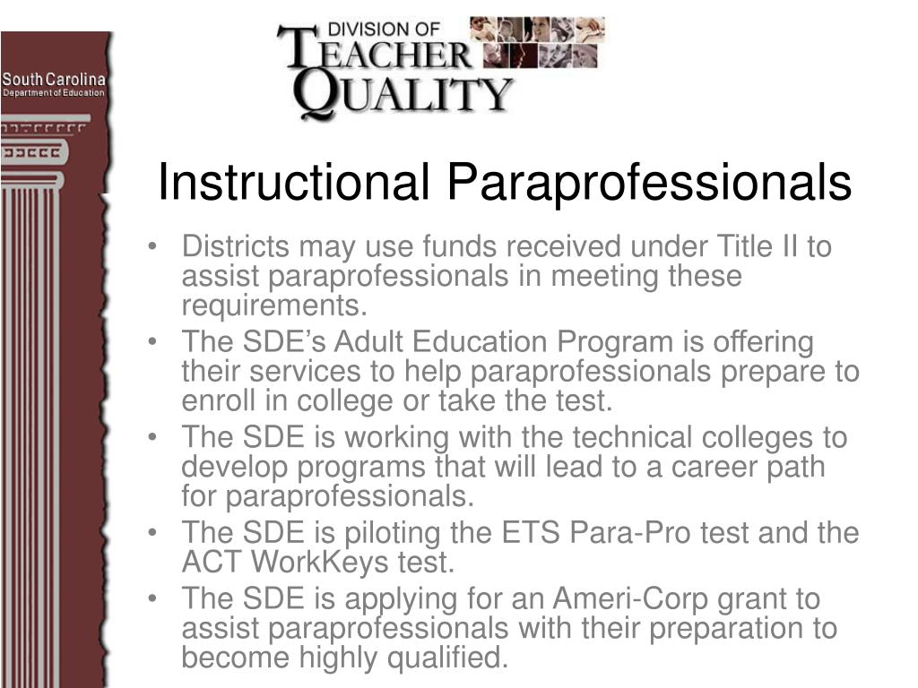 Districts may use funds received under Title II to assist paraprofessionals in meeting these requirements.