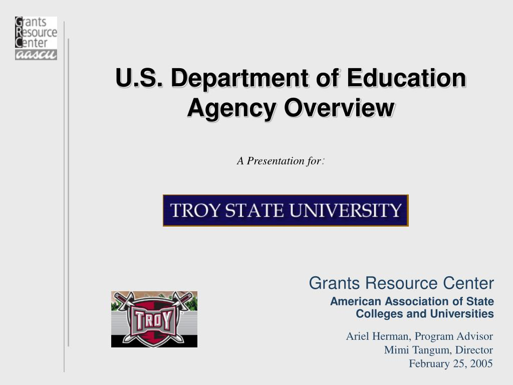 u s department of education agency overview l.