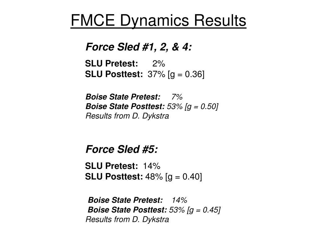 FMCE Dynamics Results