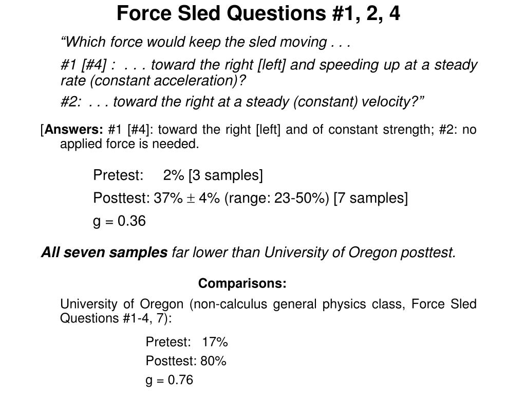 Force Sled Questions #1, 2, 4
