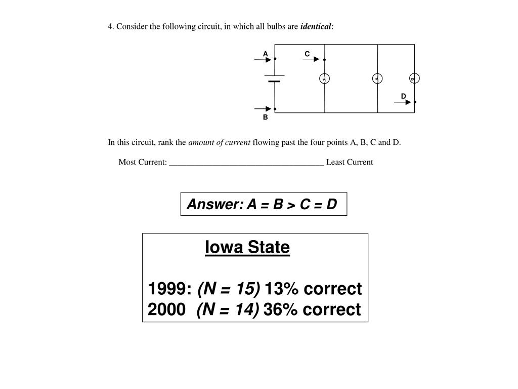 Answer: A = B > C = D