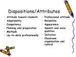dispositions attributes
