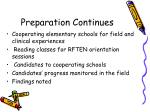 preparation continues