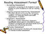 reading assessment format