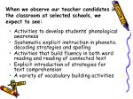 when we observe our teacher candidates in the classroom at selected schools we expect to see