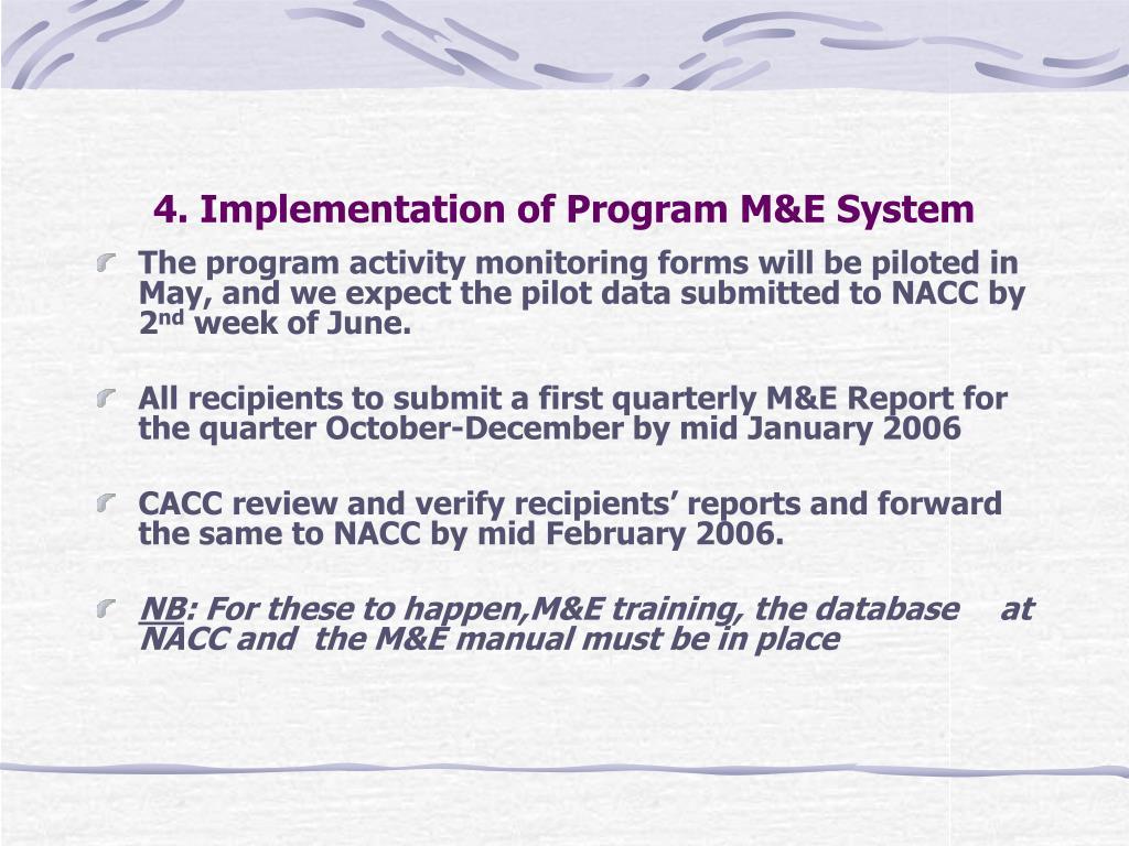 4. Implementation of Program M&E System
