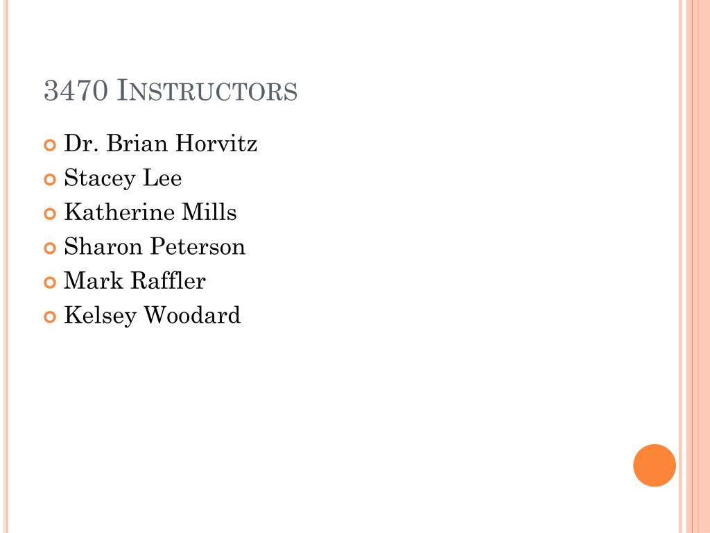 3470 Instructors