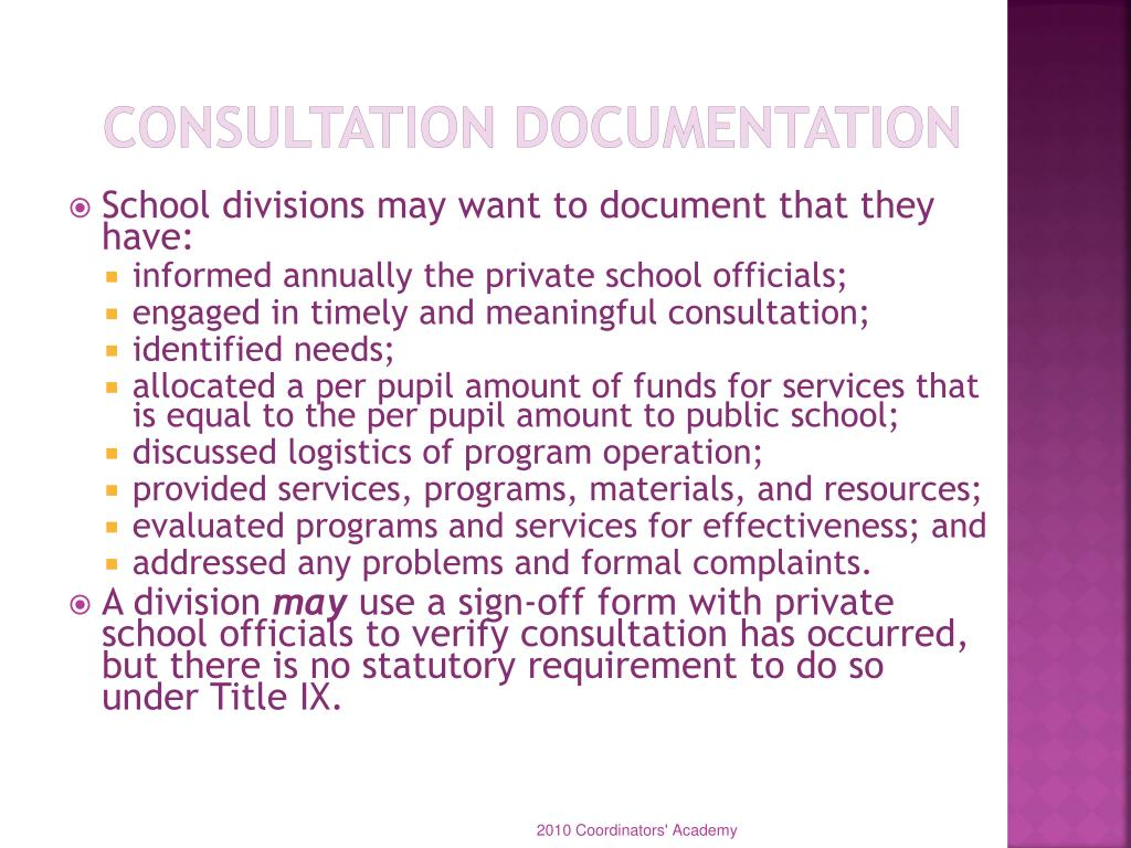 Consultation Documentation