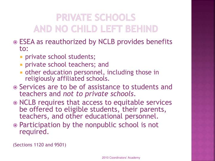 Private schools and no child left behind