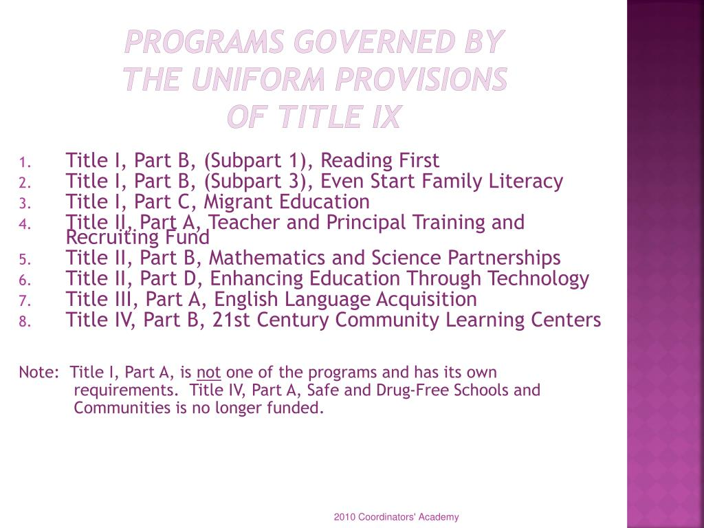 Programs Governed by