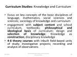 curriculum studies knowledge and curriculum