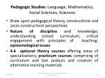 pedagogic studies language mathematics social sciences sciences