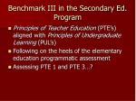 benchmark iii in the secondary ed program
