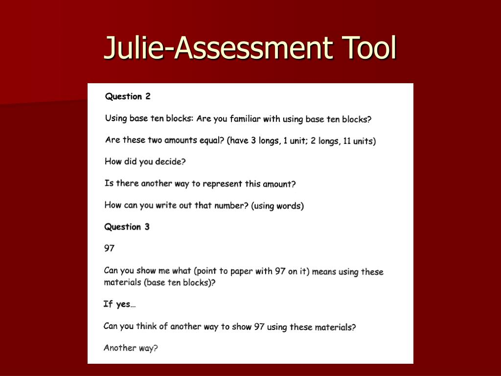 Julie-Assessment Tool