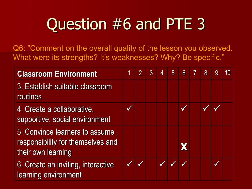 Question #6 and PTE 3