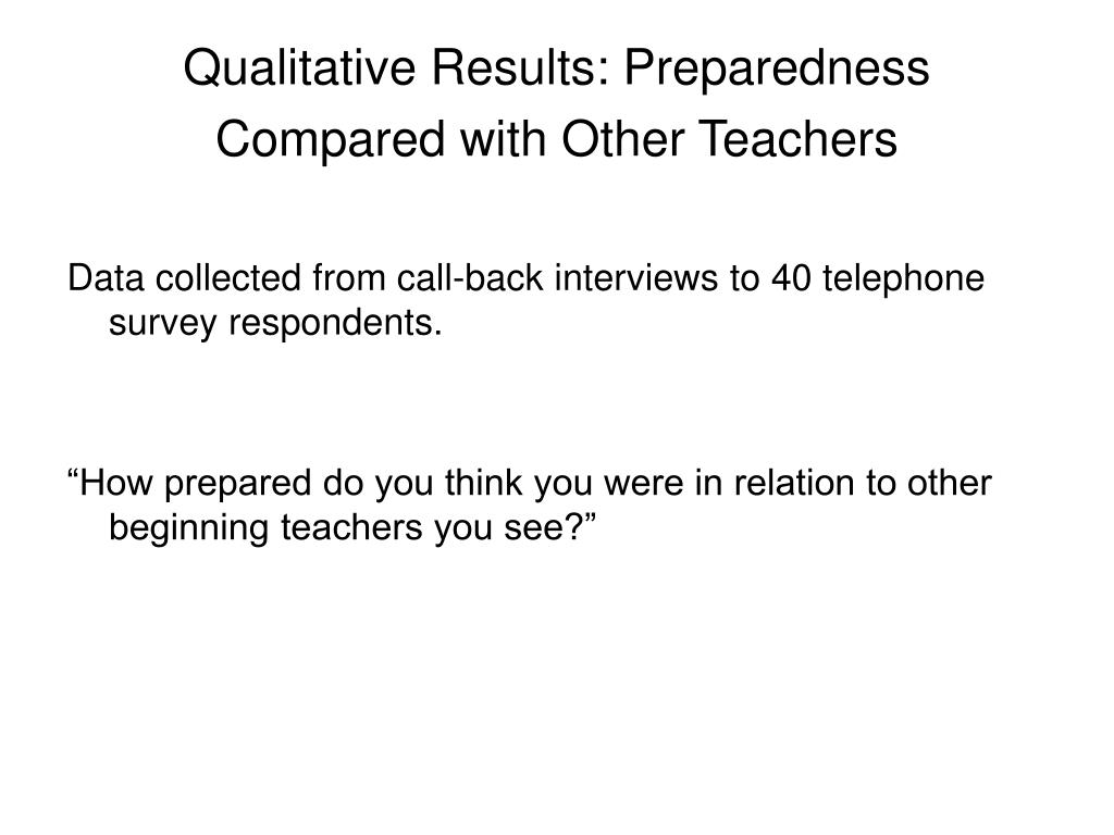 Qualitative Results: Preparedness Compared with Other Teachers