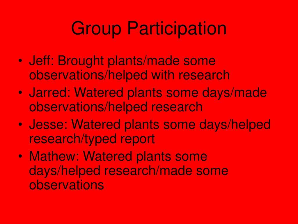 Group Participation