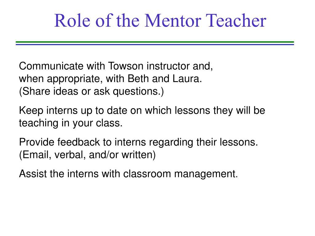 Role of the Mentor Teacher