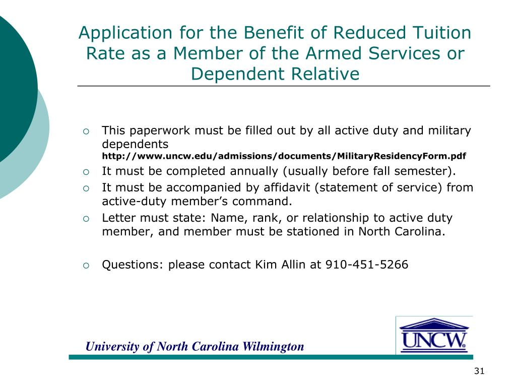Application for the Benefit of Reduced Tuition Rate as a Member of the Armed Services or Dependent Relative