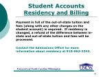 student accounts residency and billing