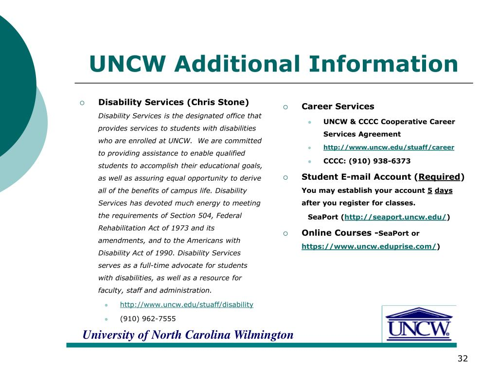 UNCW Additional Information