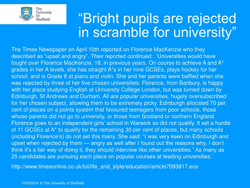 """Bright pupils are rejected in scramble for university"""
