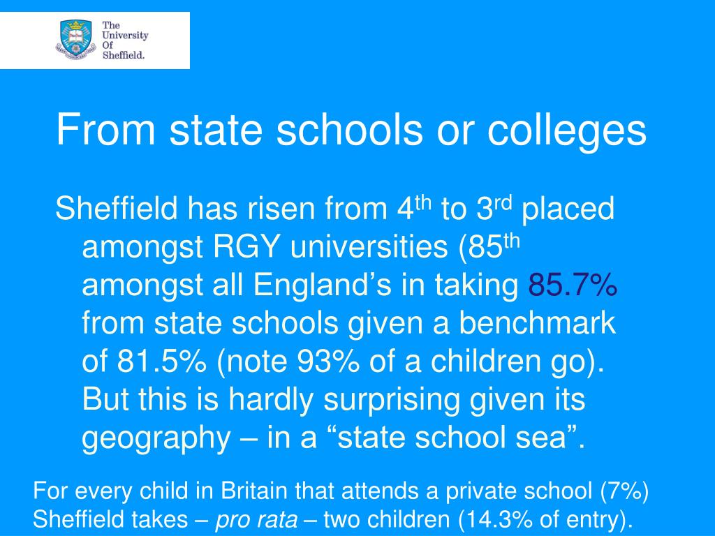 From state schools or colleges