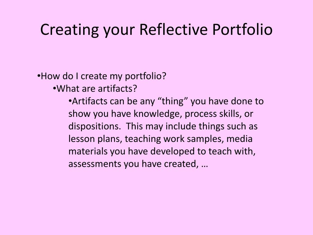 Creating your Reflective Portfolio