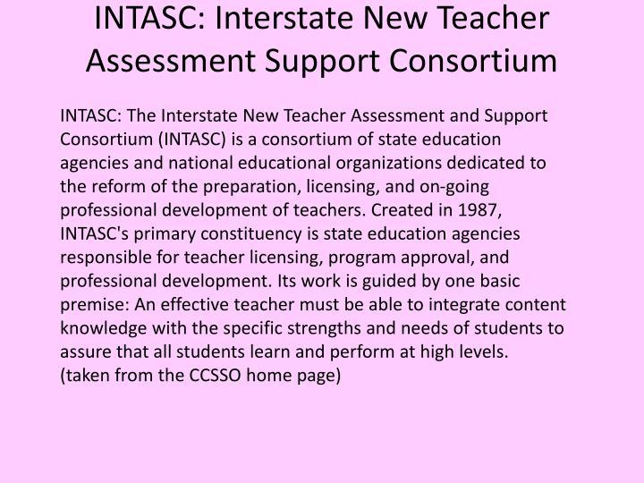 Intasc interstate new teacher assessment support consortium