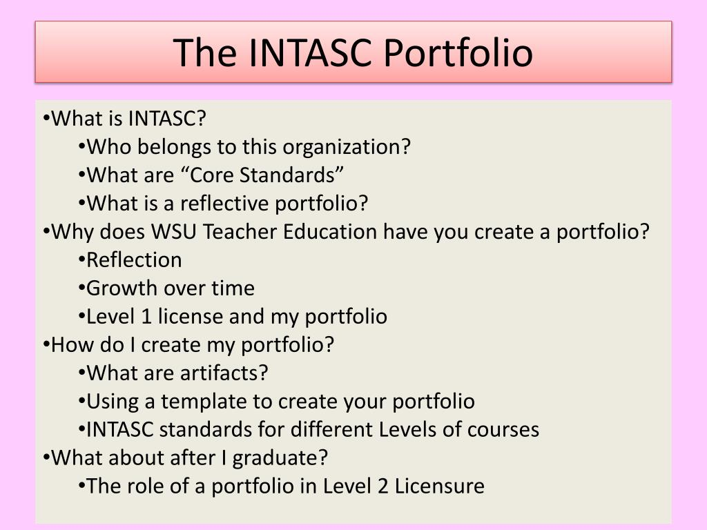 the intasc portfolio l.