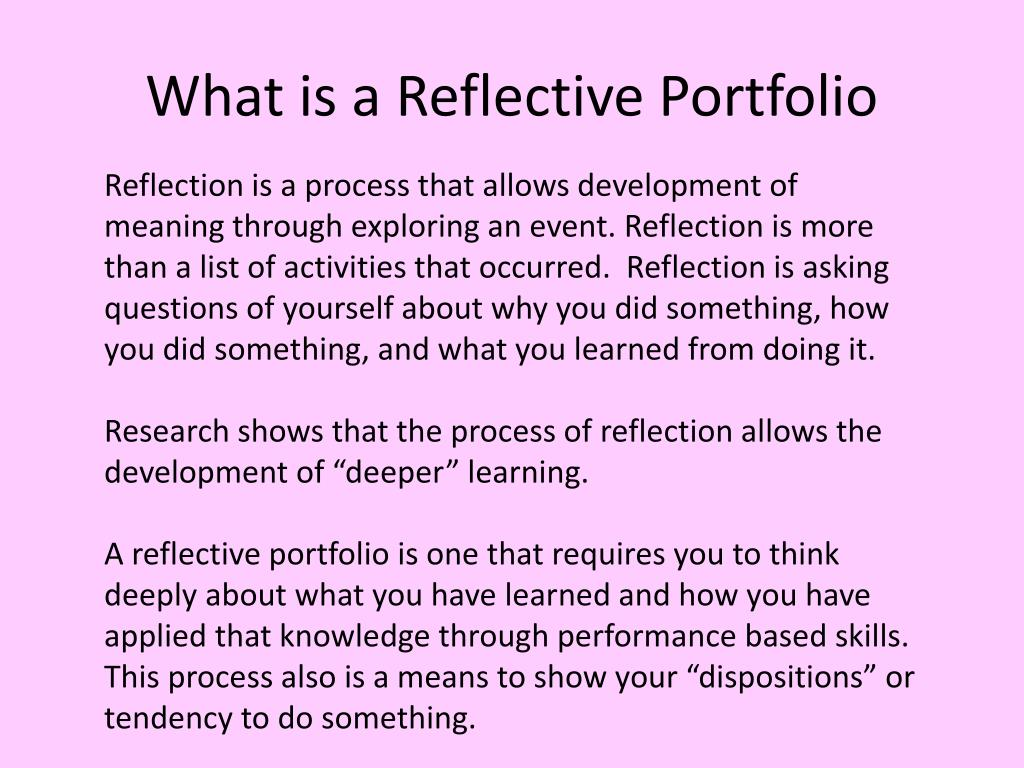 What is a Reflective Portfolio