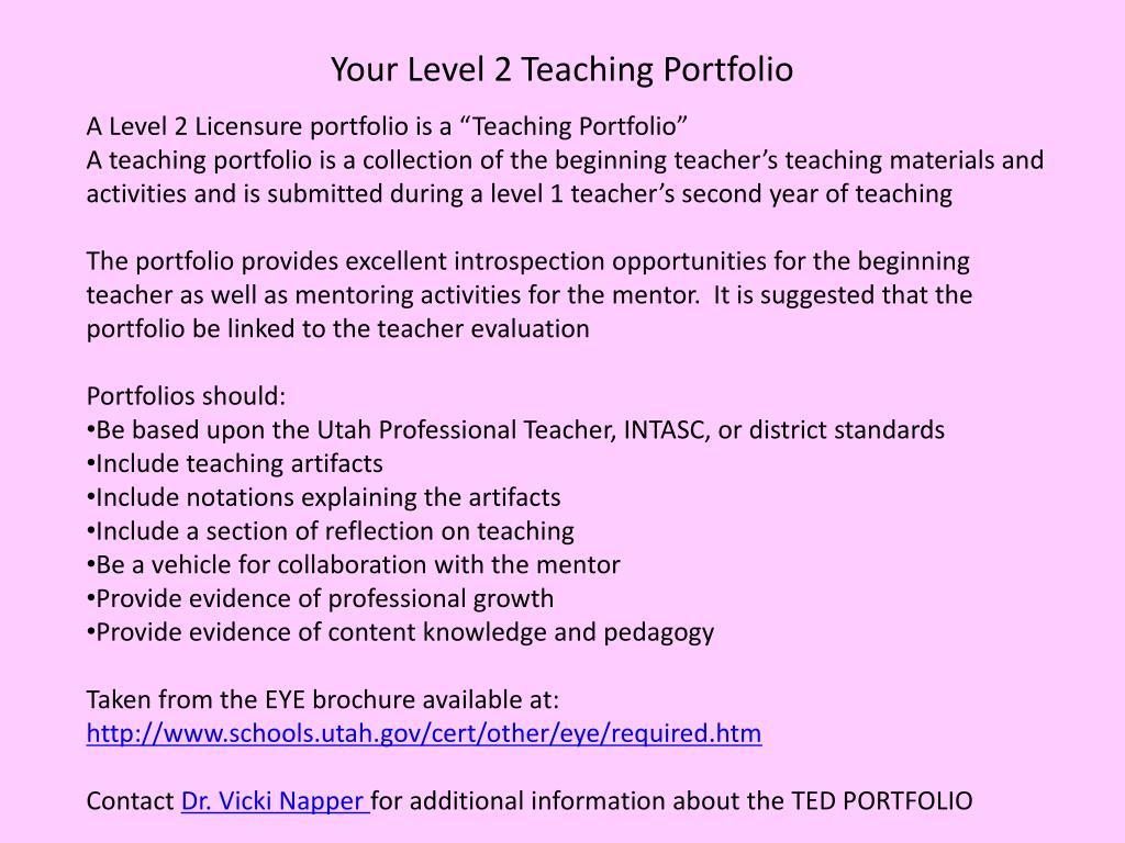 Your Level 2 Teaching Portfolio