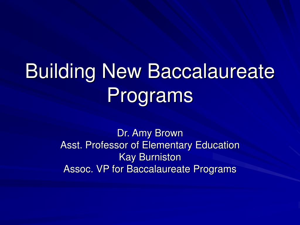 building new baccalaureate programs l.