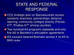 state and federal response