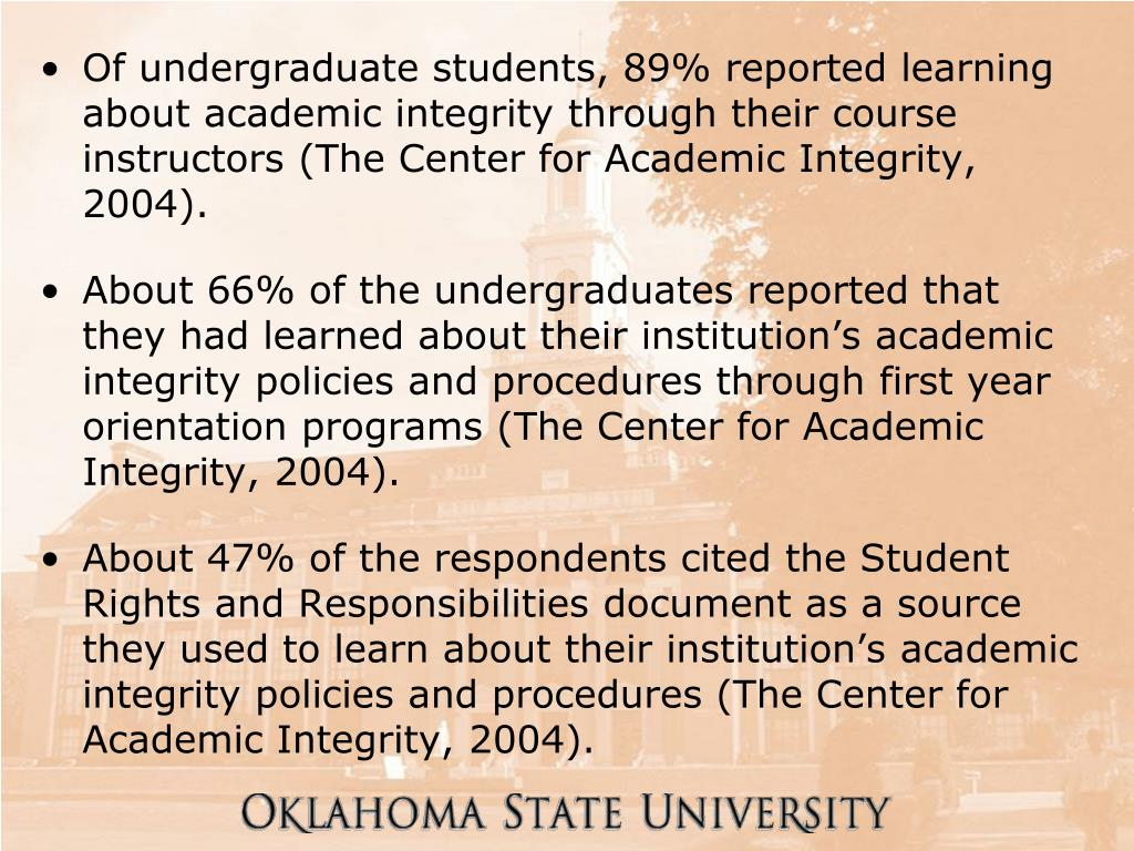 Of undergraduate students, 89% reported learning about academic integrity through their course instructors (The Center for Academic Integrity, 2004).
