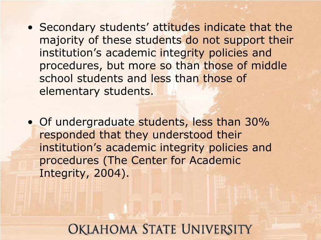 Secondary students' attitudes indicate that the majority of these students do not support their institution's academic integrity policies and procedures, but more so than those of middle school students and less than those of elementary students.