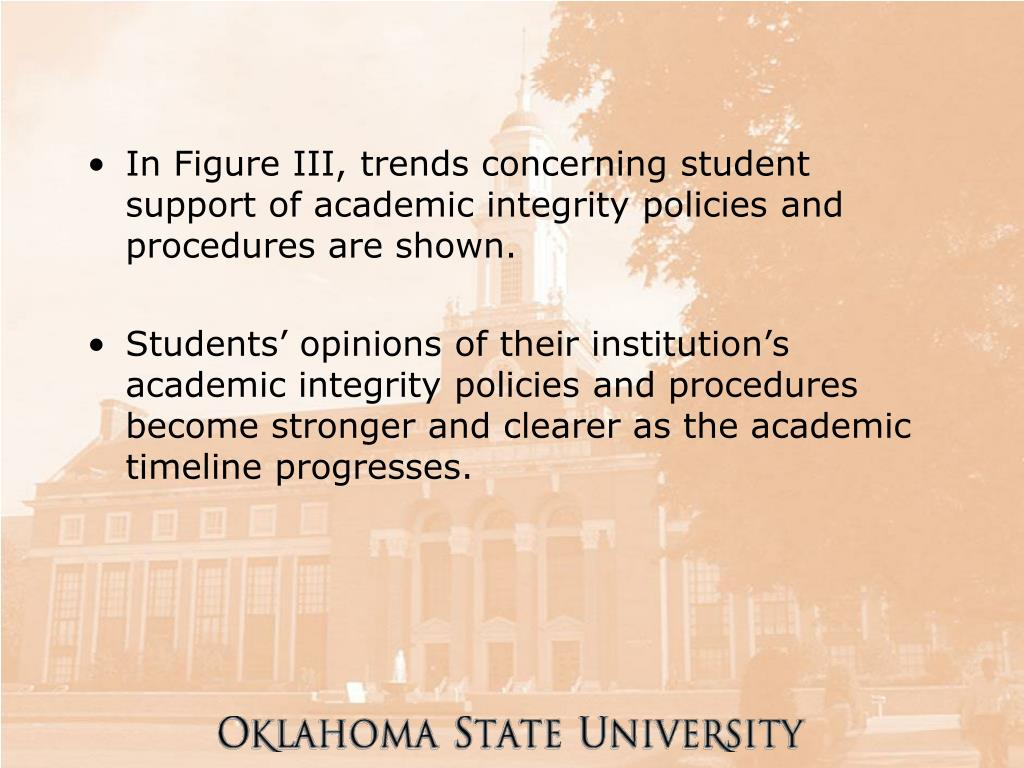 In Figure III, trends concerning student support of academic integrity policies and procedures are shown.