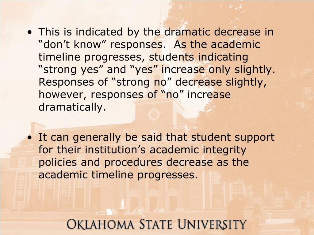 "This is indicated by the dramatic decrease in ""don't know"" responses.  As the academic timeline progresses, students indicating ""strong yes"" and ""yes"" increase only slightly.  Responses of ""strong no"" decrease slightly, however, responses of ""no"" increase dramatically."