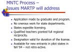 mntc process issues martp will address