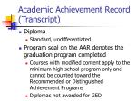 academic achievement record transcript