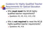 guidance for highly qualified teacher requirements for special education24