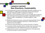lessons learned new directions sustainability