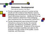 outcomes developmental from external evaluator s final report