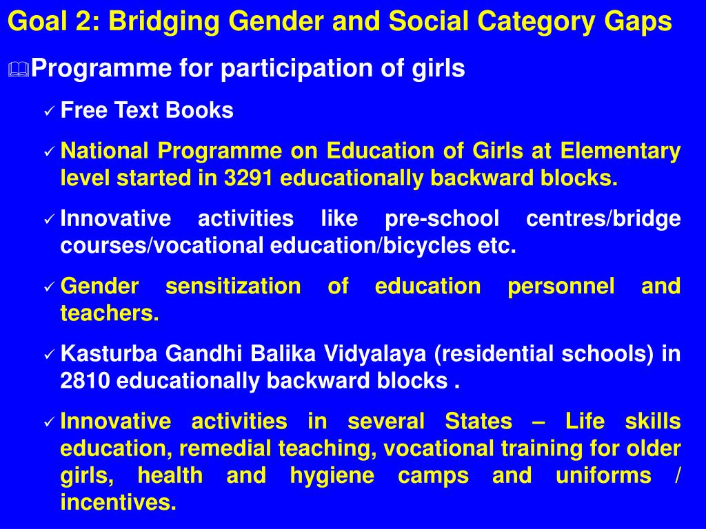 Goal 2: Bridging Gender and Social Category Gaps