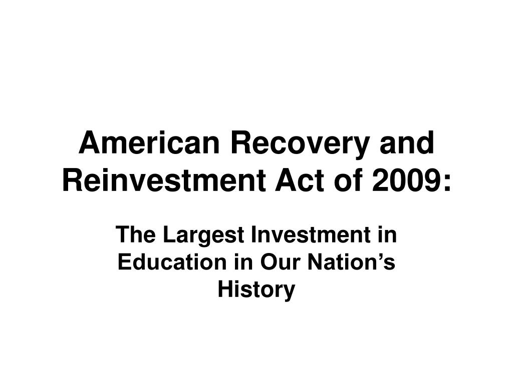 american recovery and reinvestment act of 2009 l.